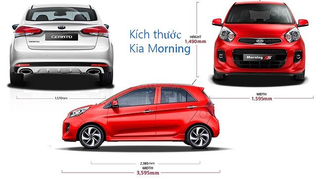 Kích thước xe Kia Morning nhỏ gọn so với nhiều dòng xe khác