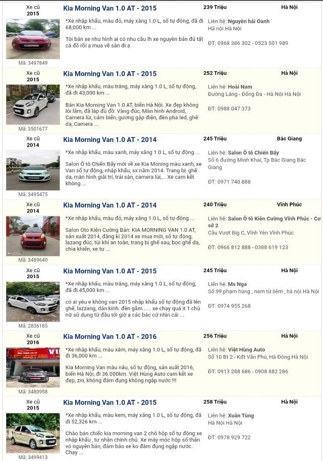 Bảng giá tham khảo mới nhất xe Kia Morning Van